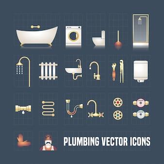 Collezione di icone dell'impianto idraulico nel set. oggetti e strumenti idraulici