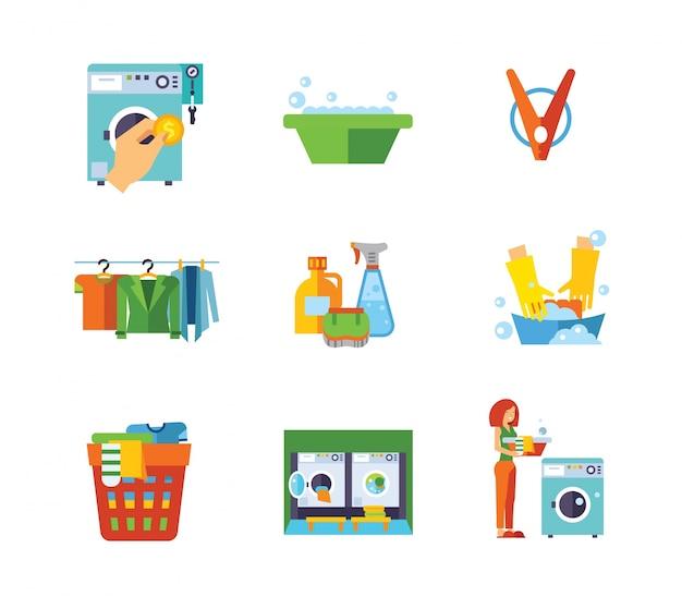 Collezione di icone della lavanderia