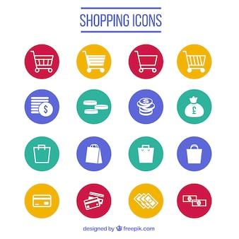 Collezione di icone dello shopping