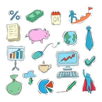Collezione di icone di affari carino con stile colorato doodle