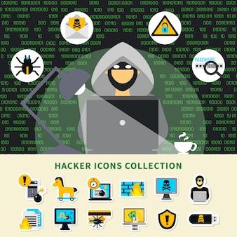 Collezione di icone di attività di hacker