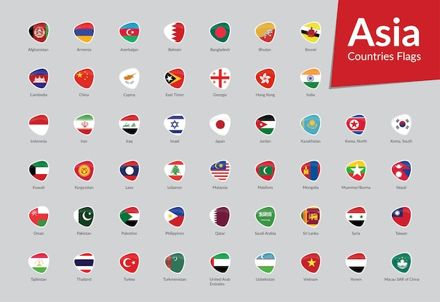 Collezione di icone di bandiere asiatiche
