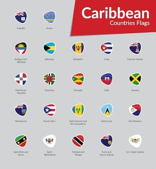 Collezione di icone di bandiere dei caraibi