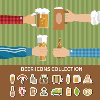 Collezione di icone di birra piatta