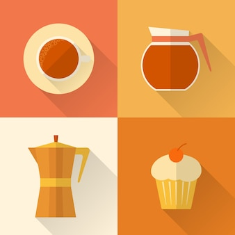 Collezione di icone di caffè piatte