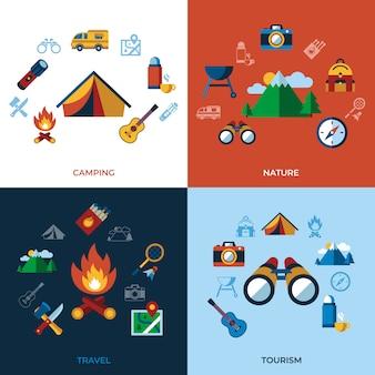 Collezione di icone di campeggio estate attività sportive