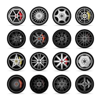Collezione di icone di cerchi in titanio per auto