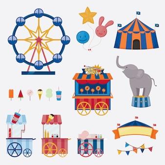 Collezione di icone di circo. illustrazione vettoriale oggetti di divertimento carino.