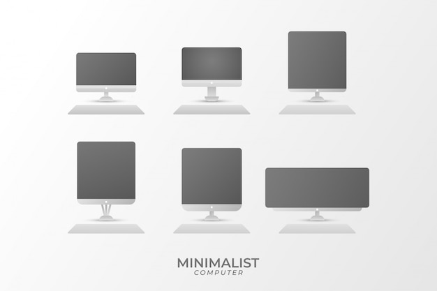 Collezione di icone di computer minimalista moderno. schermo monitor vettoriale