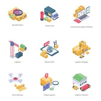 Collezione di icone di consegna logistica