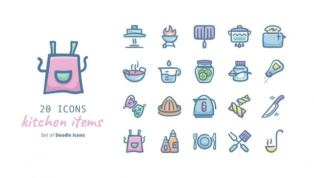 Collezione di icone di doodle di oggetti di cucina