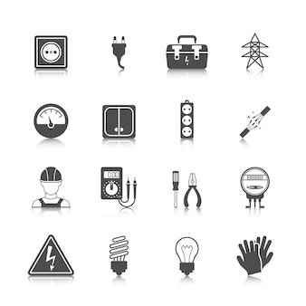 Collezione di icone di energia elettrica