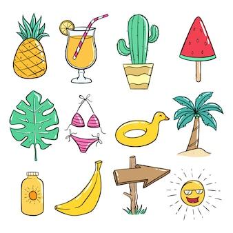 Collezione di icone di estate con stile doodle colorato su bianco