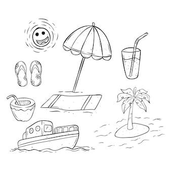 Collezione di icone di estate in bianco e nero