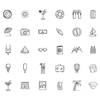 Collezione di icone di estate