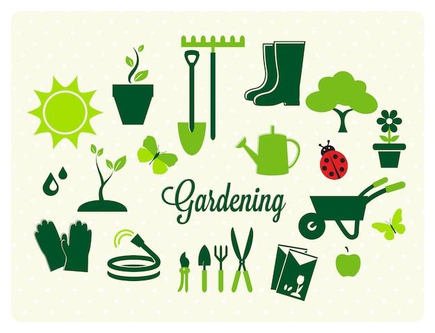 Collezione di icone di giardinaggio