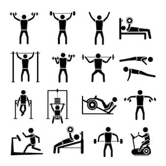 Collezione di icone di ginnastica