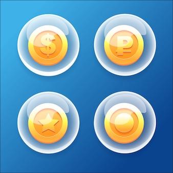 Collezione di icone di giochi bubble coins