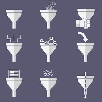 Collezione di icone di imbuto