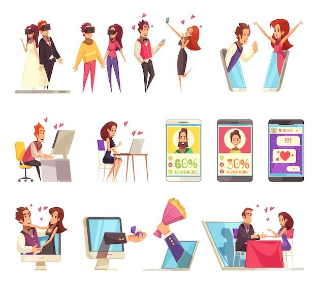 Collezione di icone di incontri online