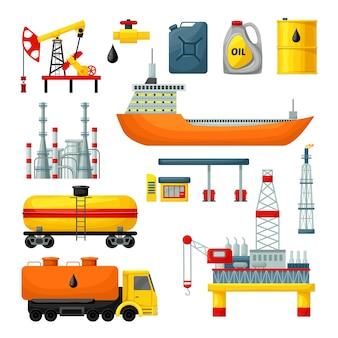 Collezione di icone di industria petrolifera