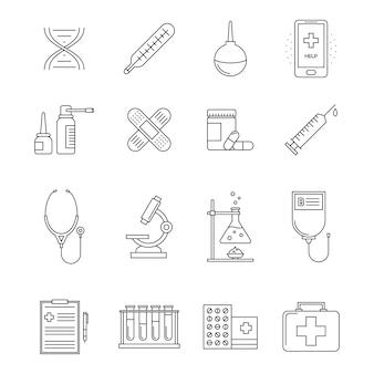 Collezione di icone di linea di medicina