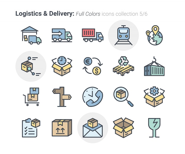 Collezione di icone di logistica e consegna 5