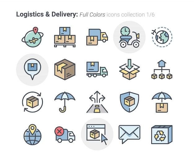 Collezione di icone di logistica e consegna
