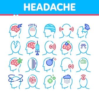 Collezione di icone di mal di testa