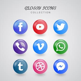 Collezione di icone di media sociali lucido