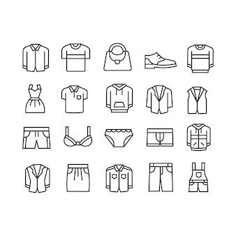 Collezione di icone di moda e abbigliamento lineare