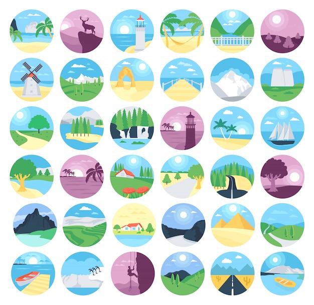 Collezione di icone di paesaggi