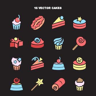 Collezione di icone di panetteria e torta