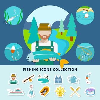 Collezione di icone di pesca sullo sfondo