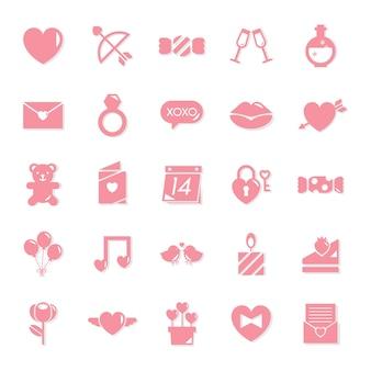 Collezione di icone di san valentino