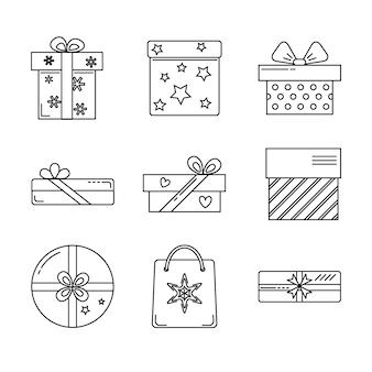 Collezione di icone di scatola regalo