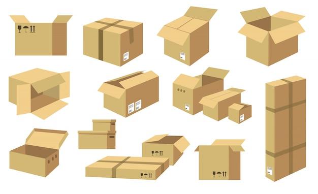 Collezione di icone di scatole di cartone