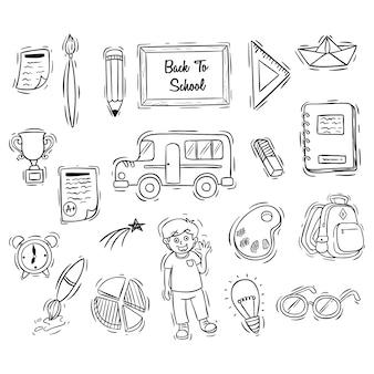 Collezione di icone di scuola con stile doodle in bianco e nero
