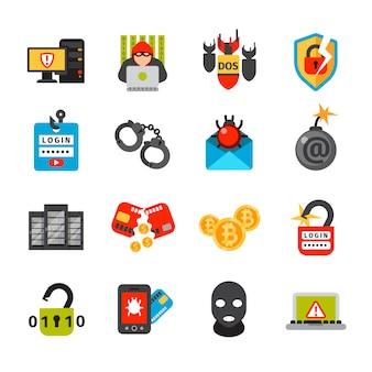 Collezione di icone di sicurezza internet