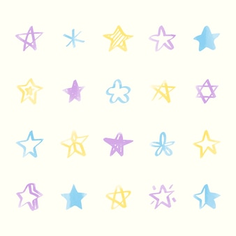 Collezione di icone di stelle illustrate