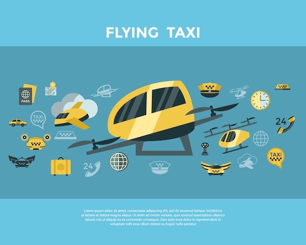 Collezione di icone di taxi in volo