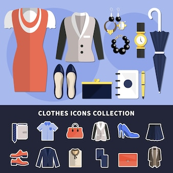Collezione di icone di vestiti