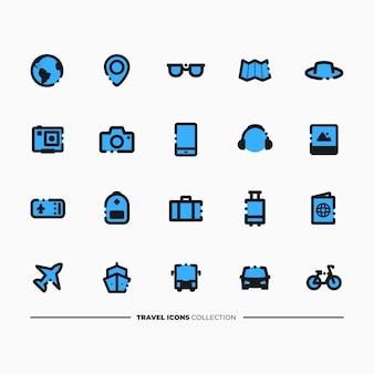 Collezione di icone di viaggio