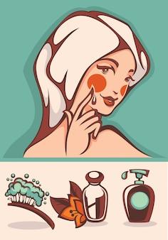 Collezione di icone ed emblemi di bella donna e spa spa del fumetto