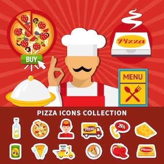 Collezione di icone emoji di pizza