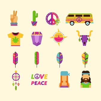 Collezione di icone hippie