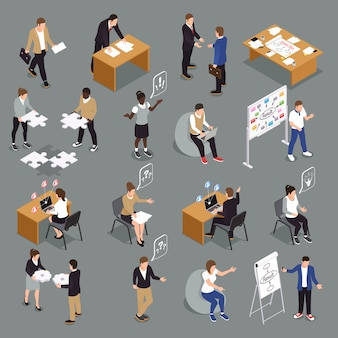 Collezione di icone isometriche di collaborazione efficiente di lavoro di squadra con idee di condivisione unificate che interagiscono, il brainstorming delle decisioni che prendono le persone