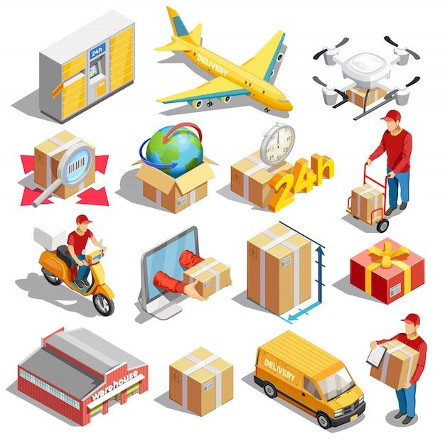 Collezione di icone isometriche di consegna
