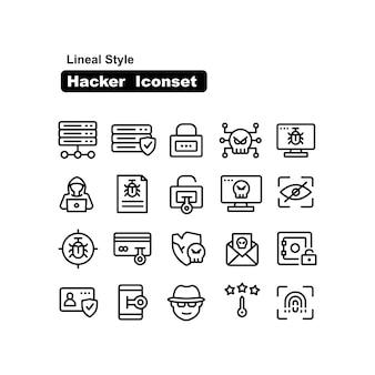 Collezione di icone lineare di hacker