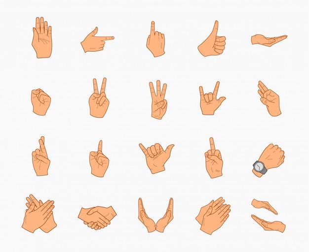 Collezione di icone mani realistiche